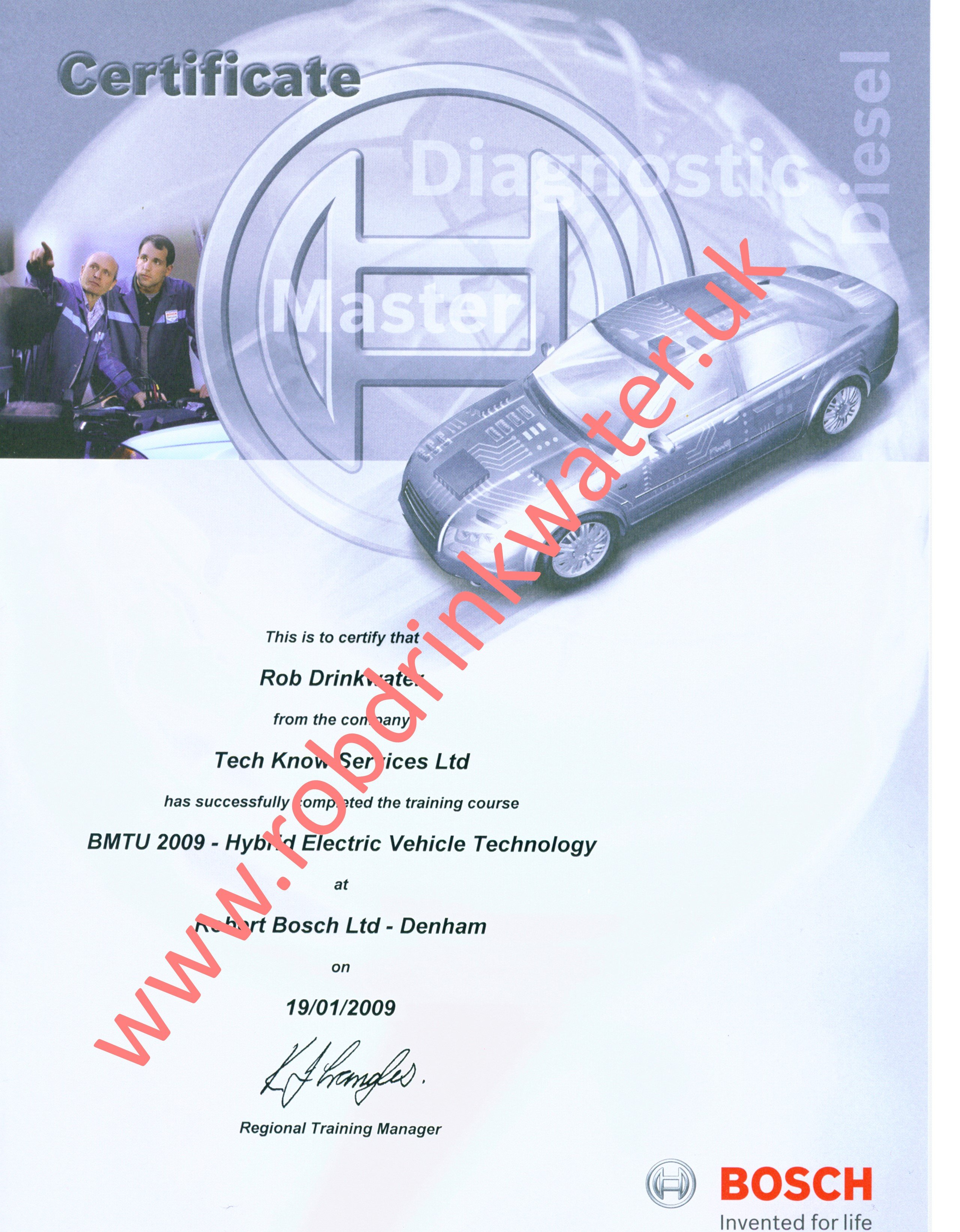 BTMU2009 Bosch Hybrid Vehicle Technology Certificate