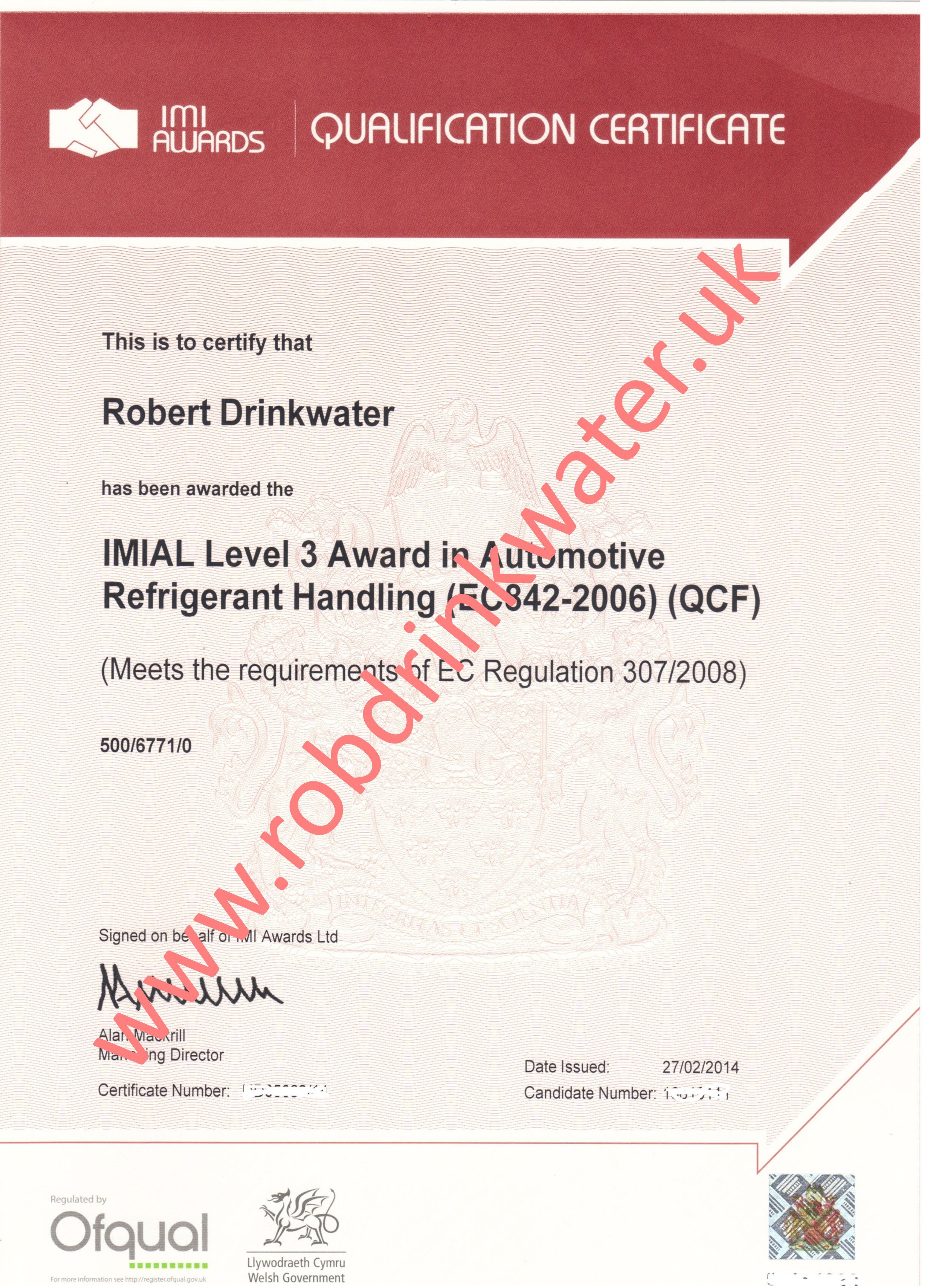 IMIAL Level 3 Award in Refrigerant Handling QCF