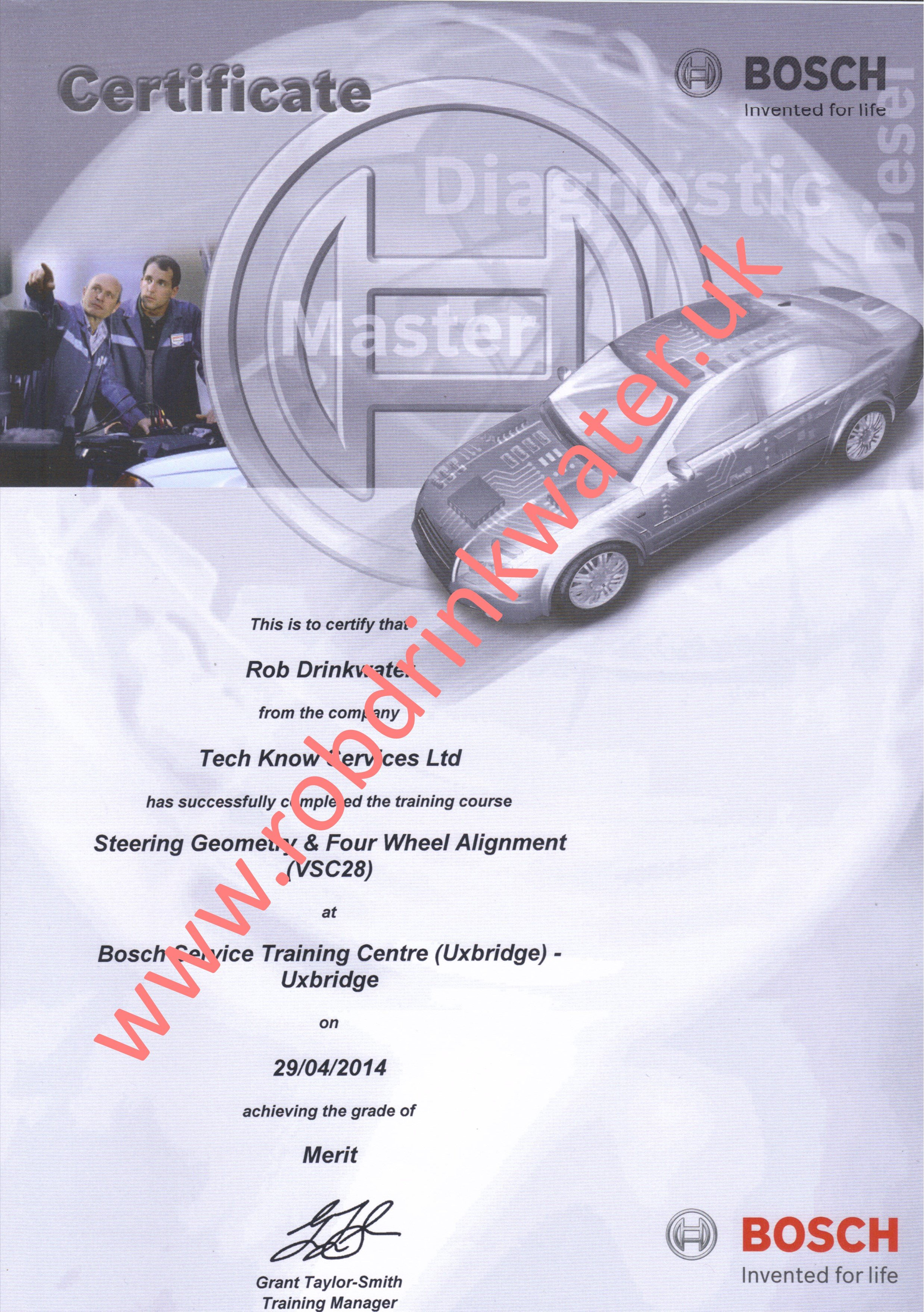 VSC28 Steering Geometry & Four Wheel Alignment Course Certificate
