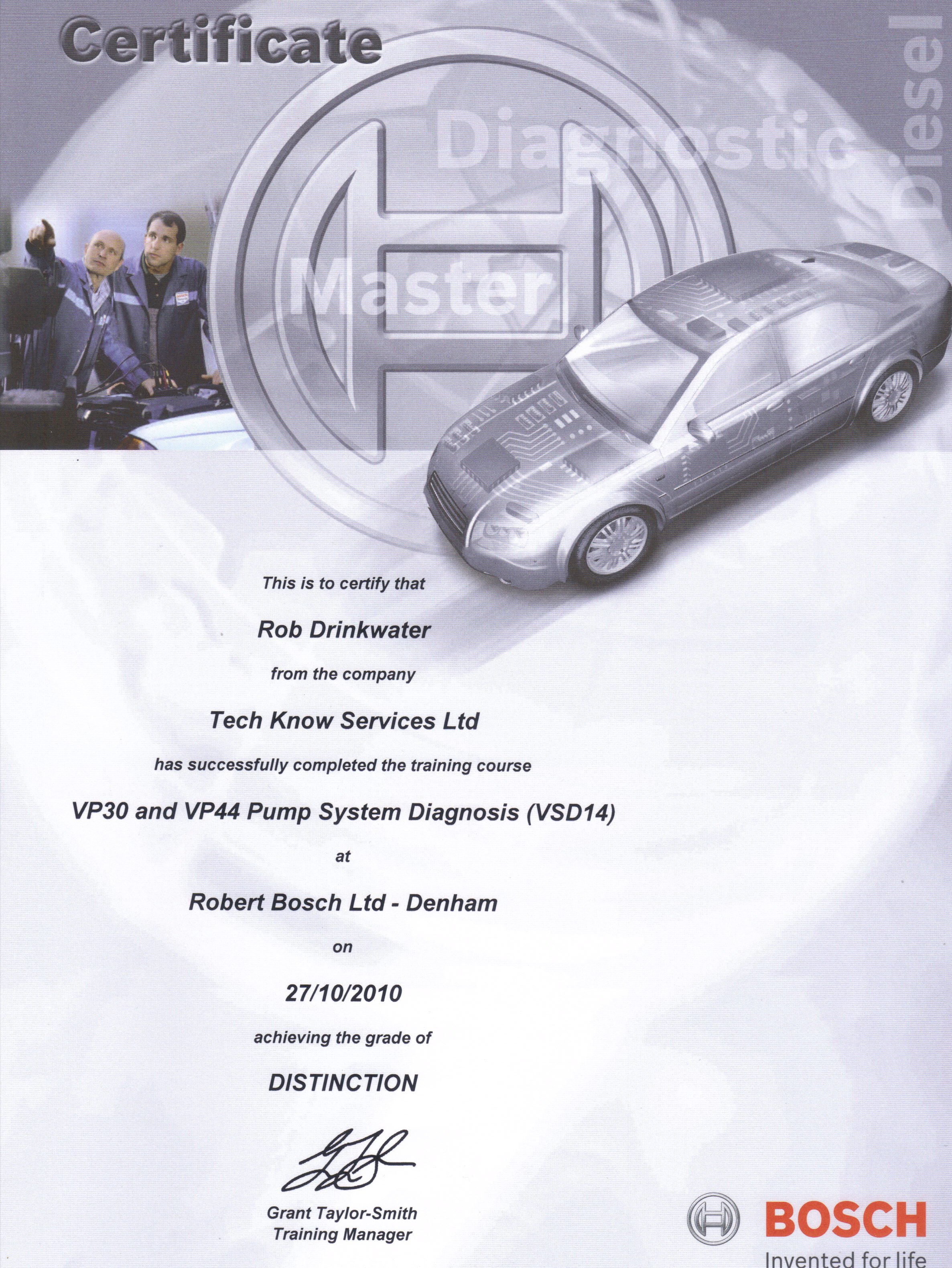 VSD14 VP30 & VP44 Pump System Diagnosis Course Certificate 2010