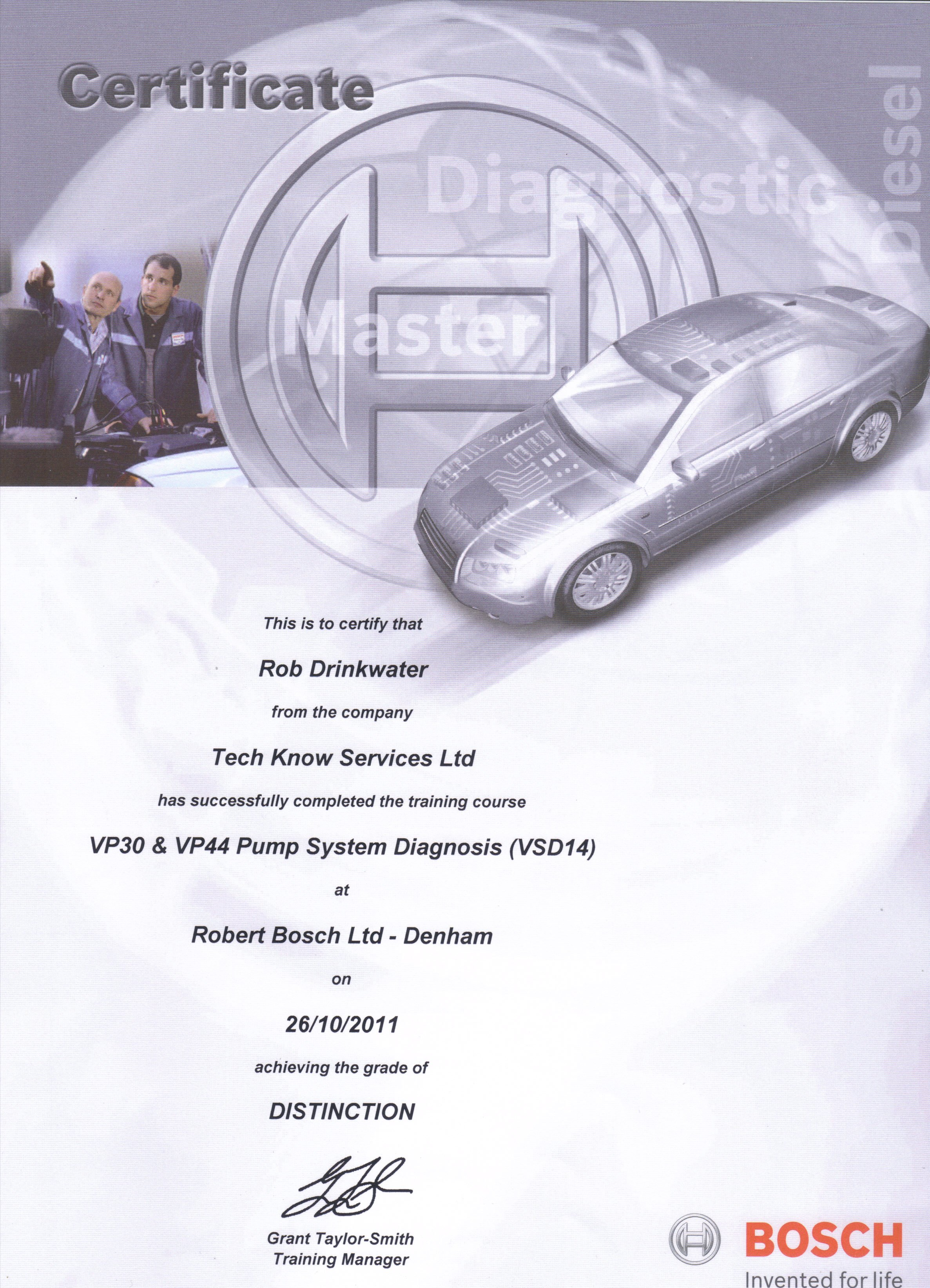 VSD14 VP30 & VP44 Pump System Diagnosis Course Certificate 2011